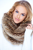Close up Blond Woman in Furry Brown Scarf