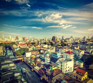 Vintage retro hipster style travel image of Bangkok aerial view . Thailand