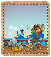 Parchment with pirate ship deck 1 - picture illustration.
