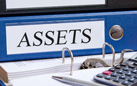 Assets - blue binder in the office