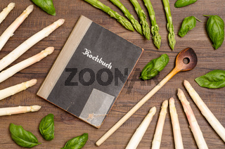 Kochbuch mit Spargel