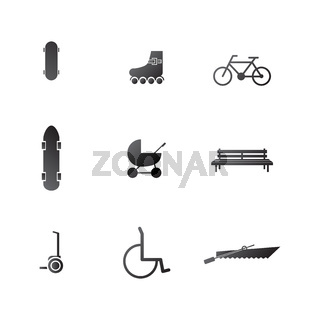 Vector icons for active leisure in the park