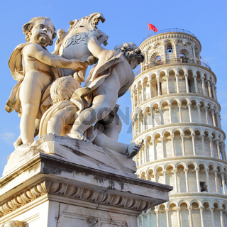 The statue of angels and Leaning Tower