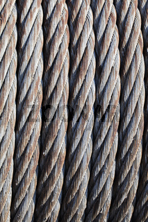 Close-up of old steel cable
