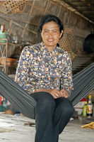 Khmer lady sitting in a hammock, Cambodia