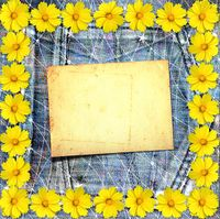 Old vintage postcard with beautiful yellow flowers on blue jeans background