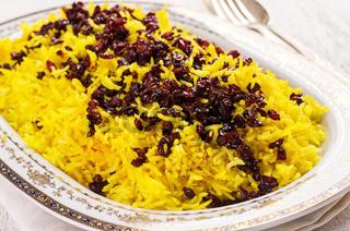 saffron rice with berberis