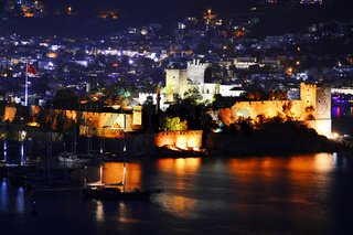 View of Bodrum harbor by night. Turkish Riviera.