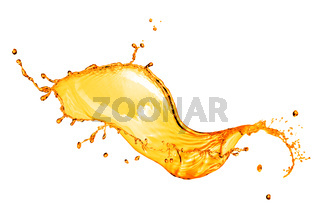 orange water splash isolated on white