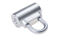 chrome metal padlock on white background