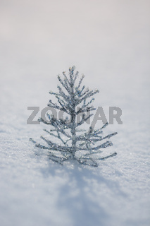 Silver Christmas tree decoration on snow