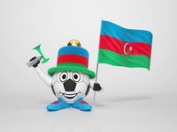 Soccer character fan supporting Azerbaijan