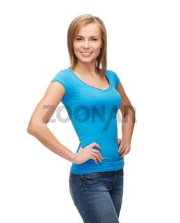 smiling girl in blank blue t-shirt