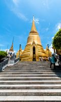 Bangkok golden Chedi kings palace ancient temple in thailand.