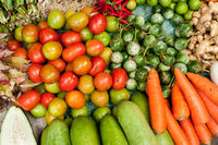 Fresh organic vegetables, herbs and spices