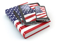 American english learning. Mobile devices, smartphone, tablet pc and book .
