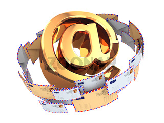 E-mail concept. Gold At symbol and envelopes isolated on white background. 3d