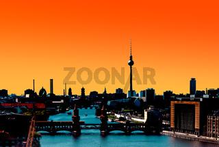 Berlin Skyline Panorama sunset