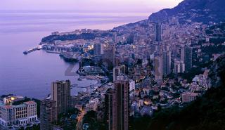 Panorama of a sunrise in Monaco