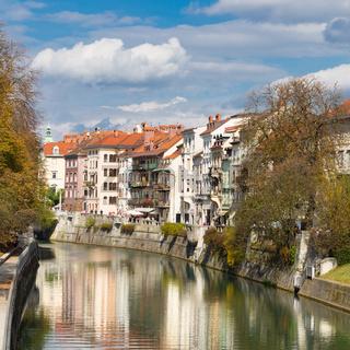 Medieval houses in Ljubljana, Slovenia.