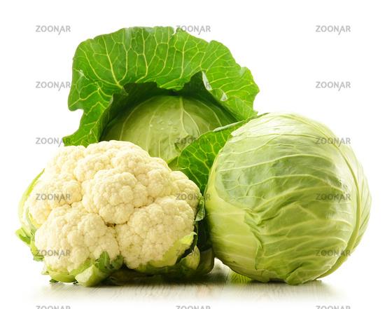 Organic cauliflower and cabbage isolated on white