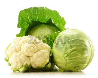 Organic cauliflower and cabbage isolated on white