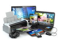 Computer devices. Mobile phone, laptop, printer, camera and tablet pc.