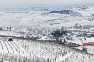 Small town and hills of Langhe in winter.