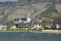 Leutesdorf, view over the Rhine from Andernach, Germany, Europe
