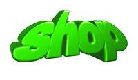das wort shop auf weißem hintergrund- 3d illustration