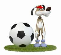 Amusing 3d dog football player.