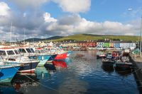 Colorful boats in the port of Portmagee