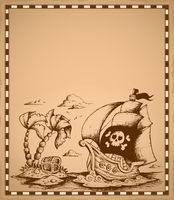 Pirate theme drawing on parchment 2 - picture illustration.