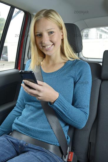 Fastened seatbelt in car