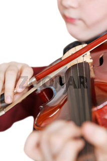 girl playing fiddle by bow isolated