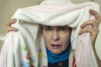 Senior inhaled under a towel a remedy for common c
