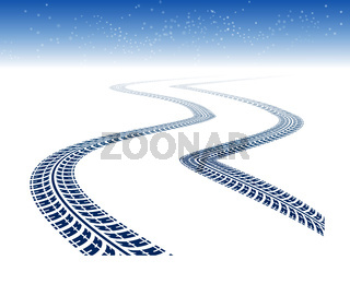 Winter tire tracks