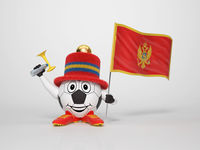 Soccer character fan supporting Montenegro
