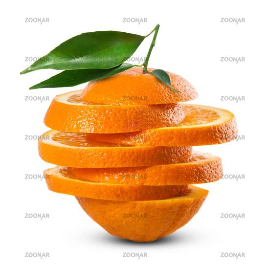 orange with leaf isolated on white