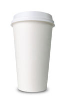 Paper cup against a white background