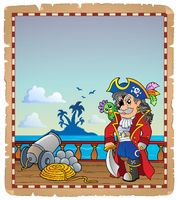 Parchment with pirate ship deck 2 - picture illustration.