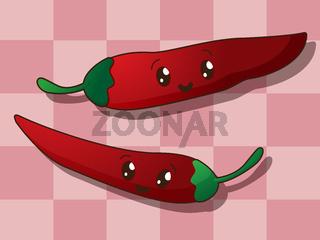 Kawaii hot paprika icons