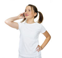 Young girl talking on her mobile phone