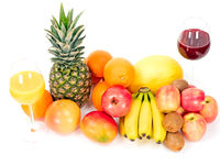 Tropical fruits with juices