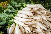Daikon radish vegetables at asian market