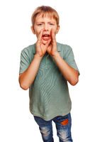 teenager boy cries calling opened his mouth isolated on white ba