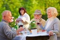 Senioren beim Geburtstag feiern im Garten