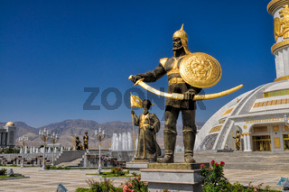 Statues around monument of independence in Ashgabat