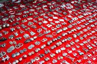 Lot of cheap souvenir earat asian market place. Laos