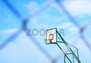 basketball basket and blur metal mesh